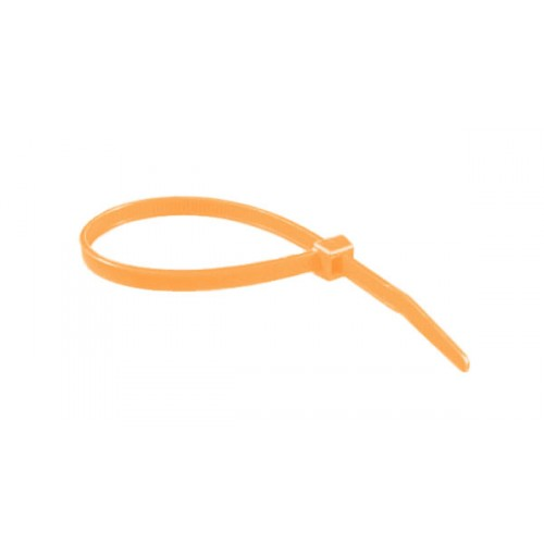 """8"""" 40lb Florescent Orange Cable Ties 100/bag Part # C8-40-Flor Orange 2"""