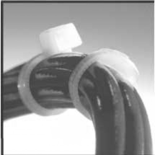 Low-profile contoured head compared with the profile of a common cable tie